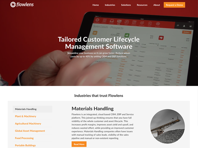Flowlens Home Page software call to action navigation tabs website web design homepage home page
