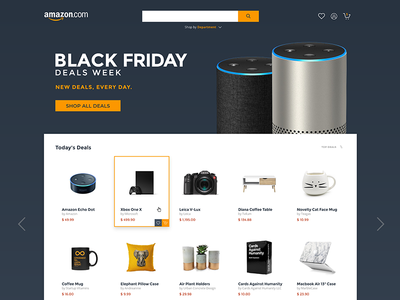 Amazon UI Design Concept - Black Friday cyber monday blue orange flat experience design adobe xd black friday concept ui design amazon