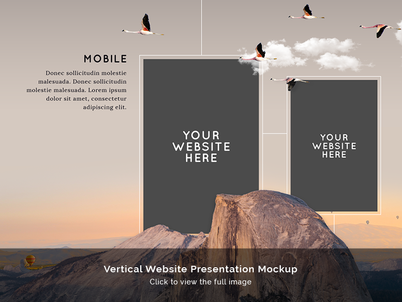 Vertical Website Presentation Mockup - FREE DOWNLOAD desktop mobile portrait mountain vertical presentation mockup website portfolio free download