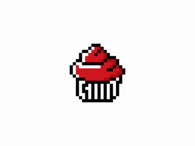 Pixel Cupcake logo for Sale sale food geometric vector mark design branding logo 8bit pixel sweet cupcake