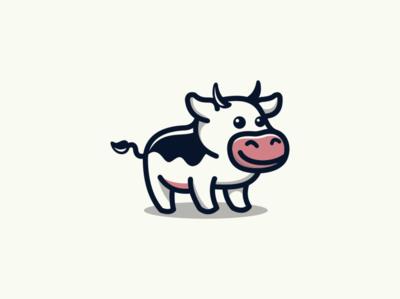 Small Cow Logo for Sale cartoon mascot vector illustration sale animal mark design branding logo little cow