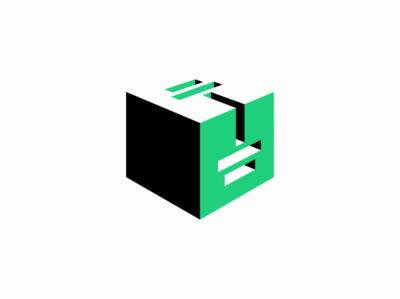 Fitness Box Logo for Sale negative space 3d cube box barbell dumbbell crossfit gym fitness illustration sale geometric vector mark design branding logo