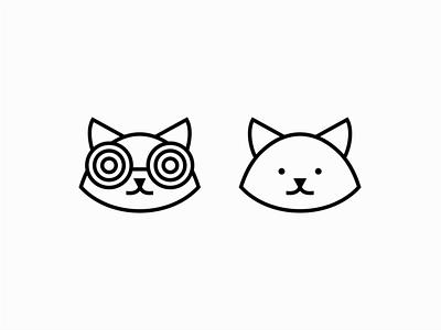Cat Logo eyeglasses sunglasses feline cat pet illustration lines geometric animal vector mark design branding logo