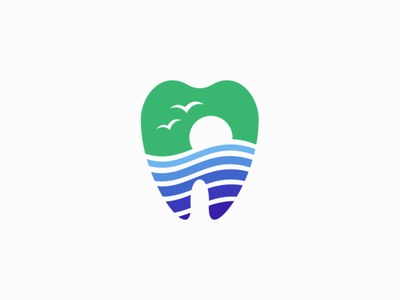 Tooth And Marine Landscape Logo for Sale landscape ocean birds sun marine dentistry dentist tooth illustration sale flat geometric vector mark design branding logo