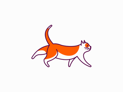 Stretching Cat Logo for Sale vet stretching pet cat illustration lines sale flat animal vector mark design branding logo