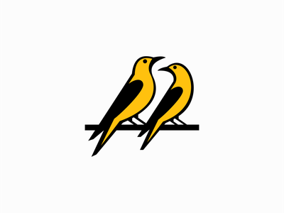 Two Birds On A Branch Logo for Sale professional original creative elegant clean graphic premium emblem branch birds bird modern illustration flat sale vector mark design branding logo