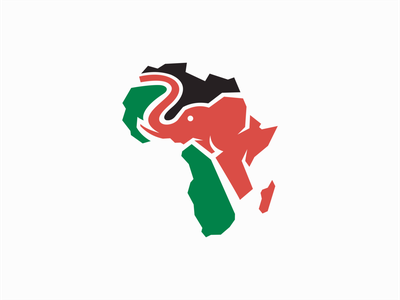 Elephant and Africa Logo for Sale creative unique graphic african icon emblem professional africa elephant illustration flat sale geometric animal vector mark design branding logo