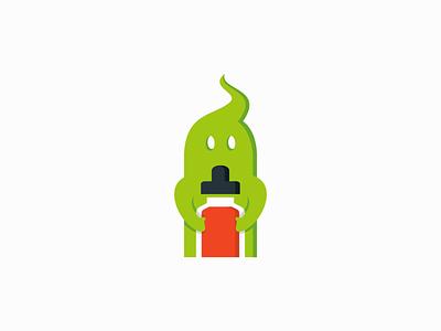 Ghost Mascot With E-liquid Bottle smoke bottle vape e-liquid mascot ghost emblem premium modern illustration sale vector mark design branding logo