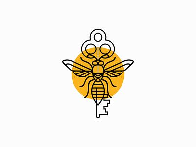 Line Art Key Bee Logo for Sale clean premium graphic unique modern line art real estate key beekeeper bee lines illustration sale geometric animal vector mark design branding logo