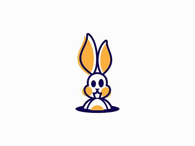 Rabbit Hole Logo for Sale vibrant clean icon emblem pet cute mascot bunny hole rabbit modern flat illustration sale animal vector mark design branding logo