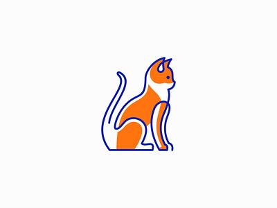 Cat Logo for Sale graphic original modern vet meow lines feline kitty pet cat flat illustration geometric sale animal vector mark design branding logo