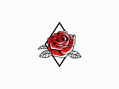 Diamond Rose lines unique elegant leaves original red flower rose diamond emblem premium modern flat illustration vector mark design branding logo