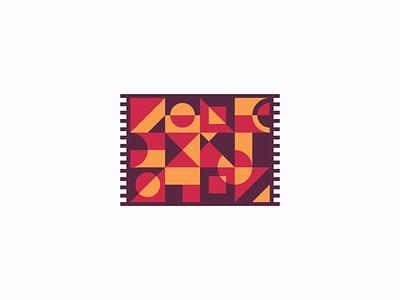Rug Or Carpet Logo for Sale colorful colors mural wrap blanket textile fabric carpet rug pattern modern flat geometric illustration sale vector mark design branding logo
