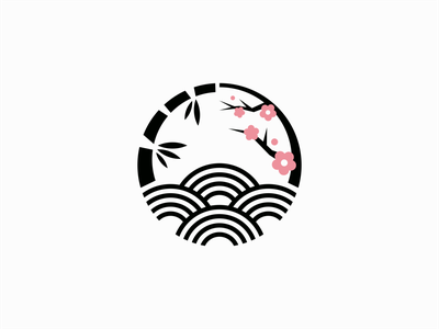 Bamboo, Sea Waves and Plum Blossom Logo circular icon flower tree minimalist symbol kamon blossom bamboo sea waves japanese japan illustration vector mark design branding logo