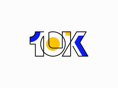 10K emblem symbol unique modern thanks thank you line 10k milestone celebrate follower followers typography illustration vector mark design branding logo