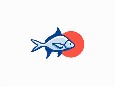 Fish Logo for Sale seafood mascot emblem icon colors modern ocean marine sea fishing pet fish illustration animal vector mark design branding logo