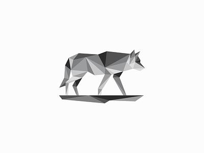Low Poly Wolf Logo original unique wild animals emblem icon modern dog grey geometric low poly wolf illustration animal vector mark design branding logo