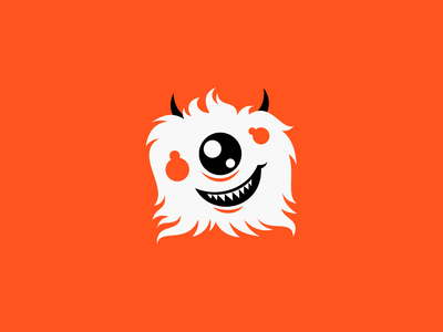 Fuzzy Monster Logo funny silly character smile modern cartoon emblem icon orange cute kids mascot monster fuzzy illustration vector mark design branding logo