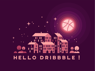 First Shot trees buildings stars night illustration first shot first debut dribbble