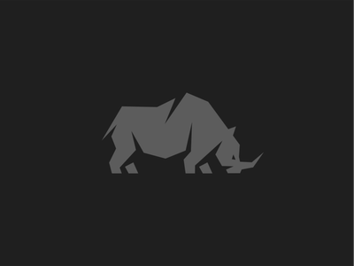 Rhino geometric grey wild animal rhino mark logo
