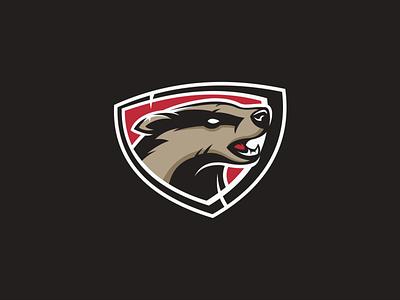 Honey Badger animal badger shield honey badger branding design logo