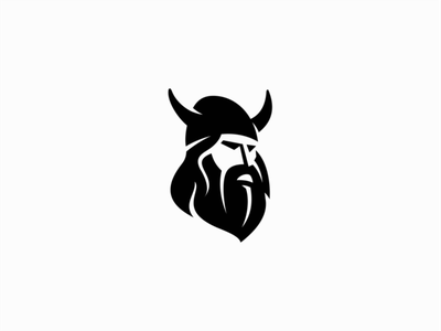Viking beard helmet media ui vector flat geometric mark design branding logo vikings norse viking