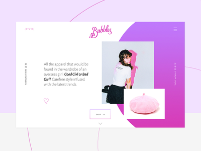 Bubbles Japan Website home landing page fashion aesthetic web web design user experience user interface uiux website