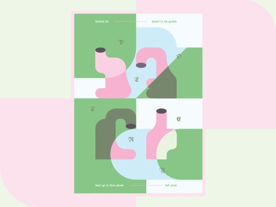 Poster #2 - Garden geometry shapes abstract flat digital art aesthetic design flyer poster graphic design illustration
