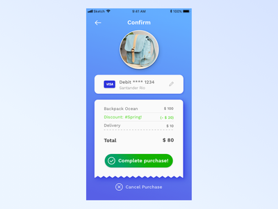 Checkout Confirmation Screen market marketplace buy purchase ticket pay payment confirmation checkout mobile