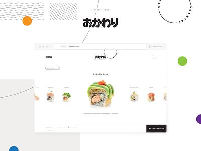 OKAWARI identity branding japanese food restaurant food japanese sushi minimalist minimal uiux ux ui landing page website logo