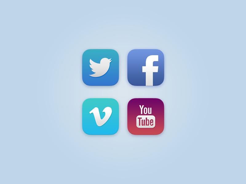 iOS 7 Social Icons (+PSD) twitter facebook vimeo youtube iphone ios blue white silver orange purple