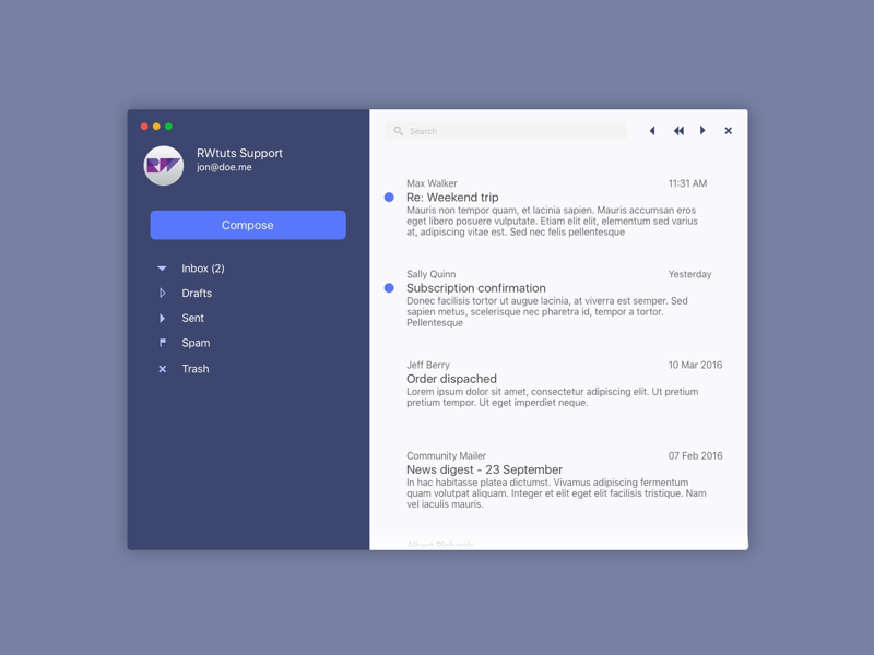 ca00d7ef3 Mail Mockup by Marvin Niedt | Dribbble | Dribbble