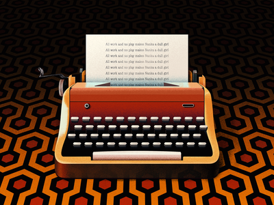 All work and no play makes Nanka a dull girl 2d art old vintage typewriter type machine typemachine type texture the shining shining red photoshop paper movie illustrator illustration dissolve design colors 2d