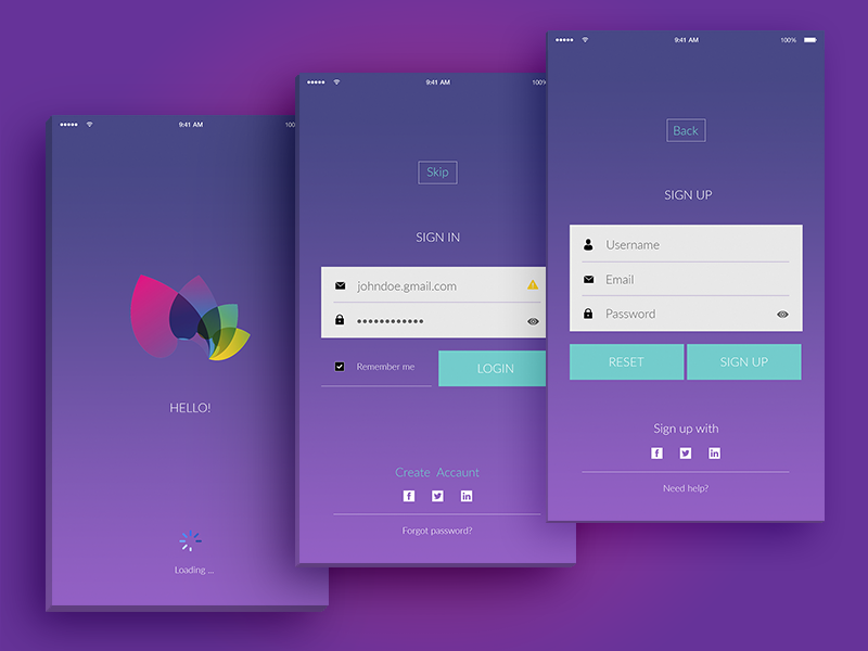 Login & Register Screens - Design. ux ui service form registration minimal ios flat clean apple mobile app
