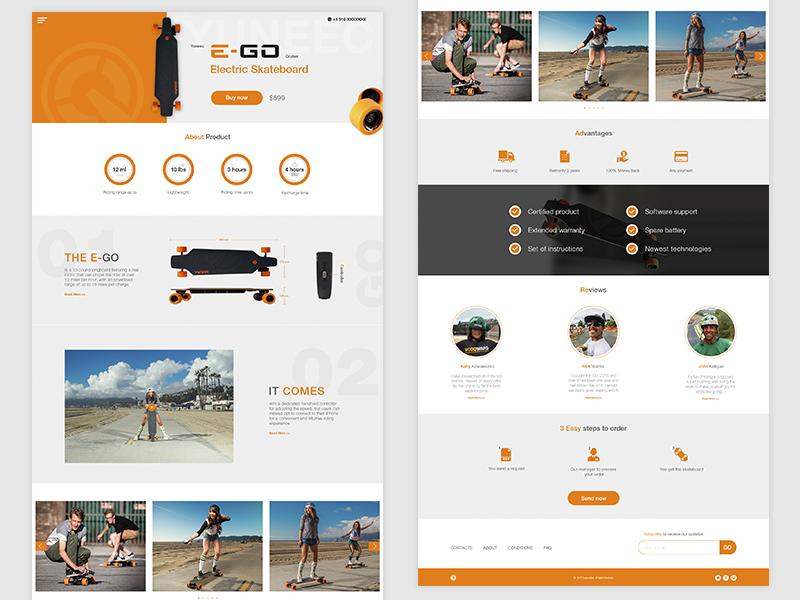 Web Version Landing Page - Electric Skateboard (Longboard) responsive design longboard skateboard ux ui web design landing page lp