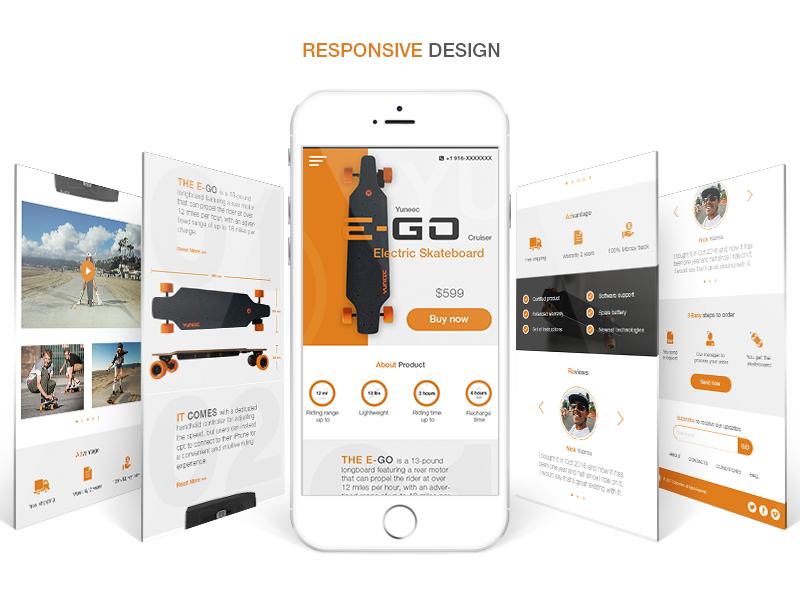 Mobile Version Landing Page - Electric Skateboard (Longboard) app mobile web ux ui skateboard design responsive lp longboard page landing