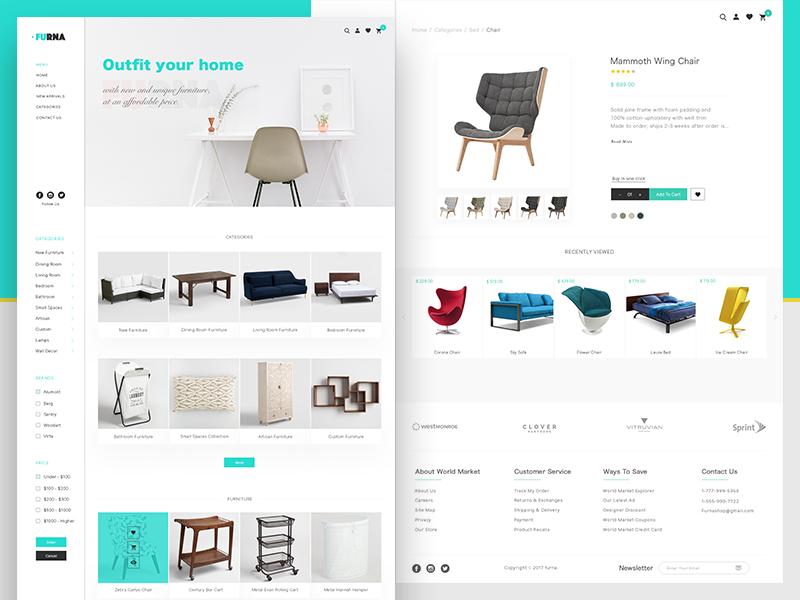 """Furniture Website """"Furna"""" furniture ui ux business wordpress webdesign modern minimalistic"""