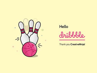 Hello Dribbble! strike bowling pins debut first shot ball bowling