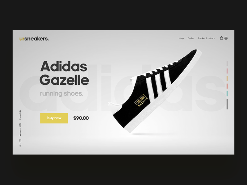 Adidas Gazelle interfacedesign interface webconcept webdesign blackandwhite adidas concept uidesign uxdesign ui ux