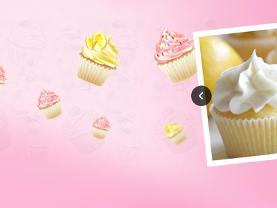 Carousel parallax cakes shop arrows gallery pastel yellow pink cakes carousel
