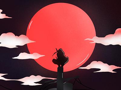 Shinobi redesign black colorful colors red anime character design character procreate artwork art illustrator vector illustration shot clean design sketch