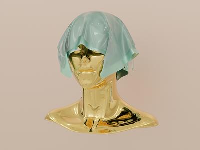 Golden Face illustration face colorful gold sculpture blender3dart blender3d character artwork art 3d blender shot clean design sketch