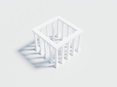 White Temple artwork art sculpture white shot blender 3d animation animation 3d