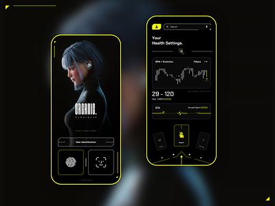 Health App Cyberpunk futurism futuristic cyberpunk health principle mobile app ux ui shot clean sketch design