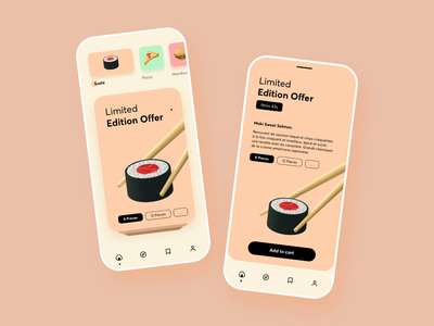 Food colorful ios prototype carousel ux ui design iphone principle animation mobile app sketch sushi food