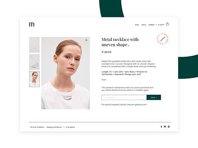 Product page digital design finland helsinki soldout website simple web product minimal ui ecommerce