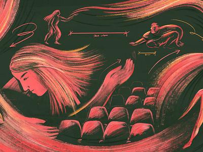 Pandemic, bodies, theater: To honor tragedy procreate app editorial illustration ilustracion editorial revista anfibia procreate digital ilustracion illustration