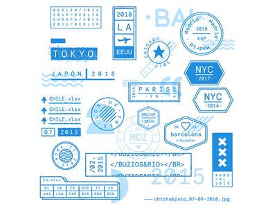 Bon Voyage! 1 / Travel Stamps travel stamp journey travel stamp type design digital ilustracion wacom illustration