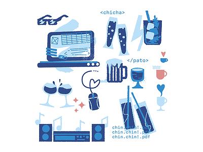 Bon Voyage! 2 drinks code nerd travel design photoshop digital ilustracion wacom illustration