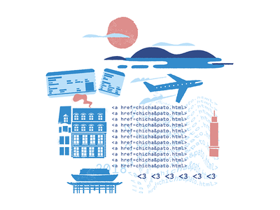 Bon Voyage! 3 drawing dibujo nerd nerds travel photoshop digital ilustracion wacom illustration